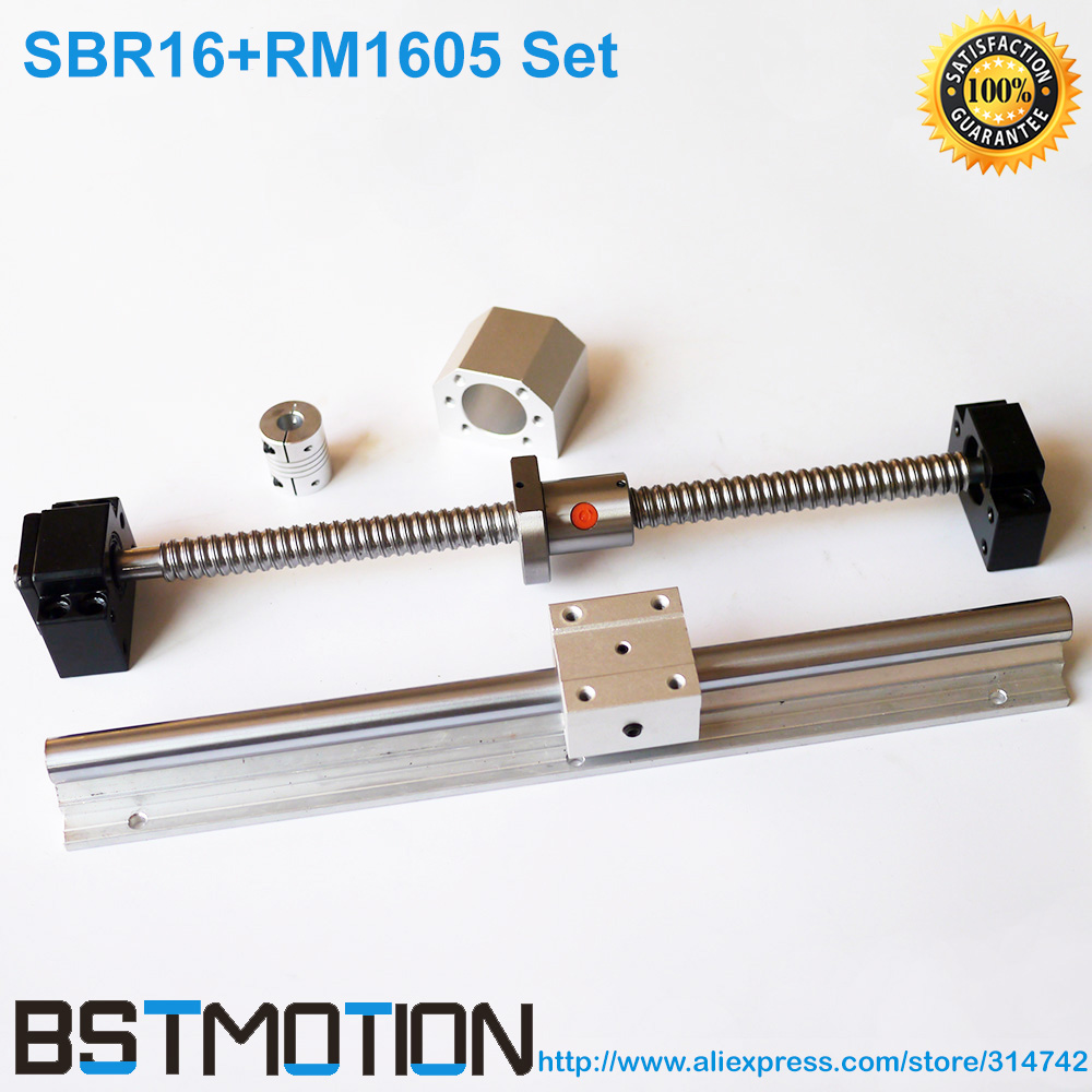 SFU1605 Ball screw 200 300 400 500 600 750mm 1000 1500mm BK12 BF12 Support 1605 Nut