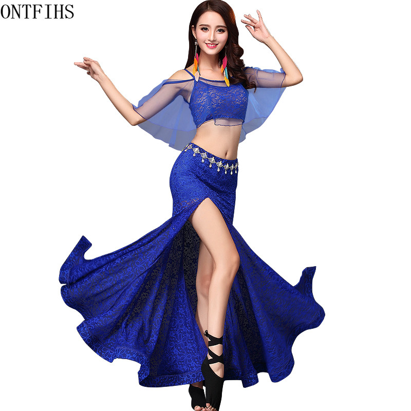 Top+ Skirt +Belt 3PCS Belly Dance Long Skirt Lace Dress Sexy Dancer Practice Costume Set Green Black Red Turquoise