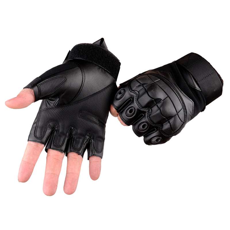Men Military Tactical CS Paintball Combat Fingerless Leather Mittens Outdoor Hunting Shooting Cycling Riding Half Finger Gloves