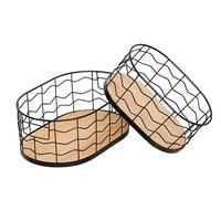 Oval Metal Storage Basket with Wooden Bottom Office Irregular Grid Organizer Frame Multifunction Toys Book Rectangle Basket