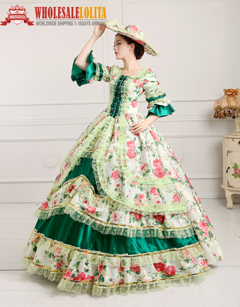 Vctorian Romantic Women Costume Dress Ball Gown Party Medieval Free Cap 4 Colors Victorian & Edwardian Costumes, Reenactment, Theater