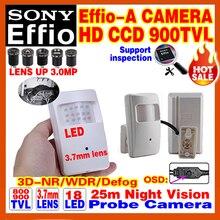 """2016new sonda de infrarrojos de visión nocturna 20 m 1/3 """"sony ccd effio 800/900tvl vigilancia de seguridad de color de imagen en casa osd de la cámara de vídeo hd"""
