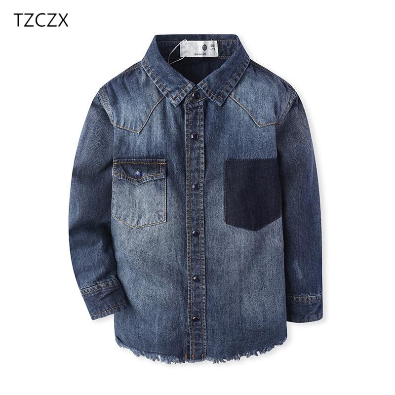 TZCZX-3030 Children Boys <font><b>Denim</b></font> Shirts Fashion <font><b>Do</b></font> the old/Tassel hem Full sleeves 100% Cotton Shirt For 3-14 Year Kids