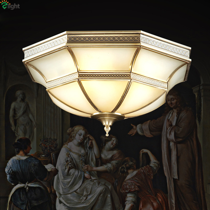 Europe Retro Copper Led Ceiling Lights Fixtures Lustre