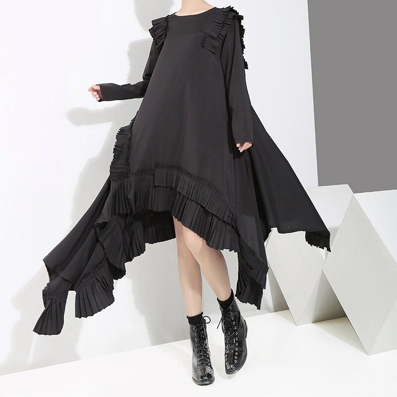 Printemps 2019 nouveau noir irrégulière femmes robes plissées vintage a-ligne lâche grande taille dame robes outwear hauts