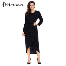 Feiterawn 2018 New Autumn Winter Casual Black Jersey Dress for Women  Elegant Long Sleeve High Low Formal Office Dress with Belt dfeb1c4bb673