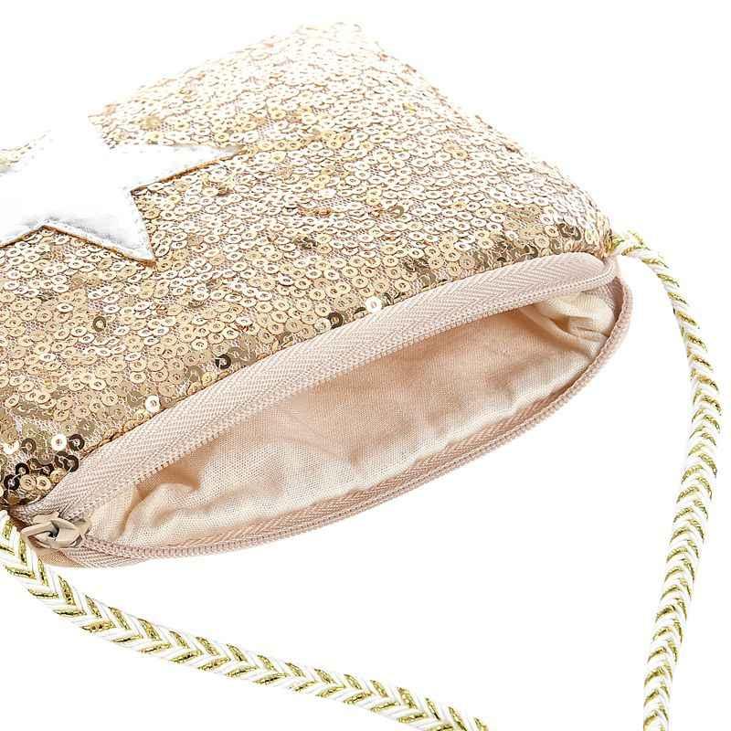 Новые блестки посылка пентаграмма девушки Наклонные молнии мешок изменить кошелек вечерние сумки (Цвет: Золотой)