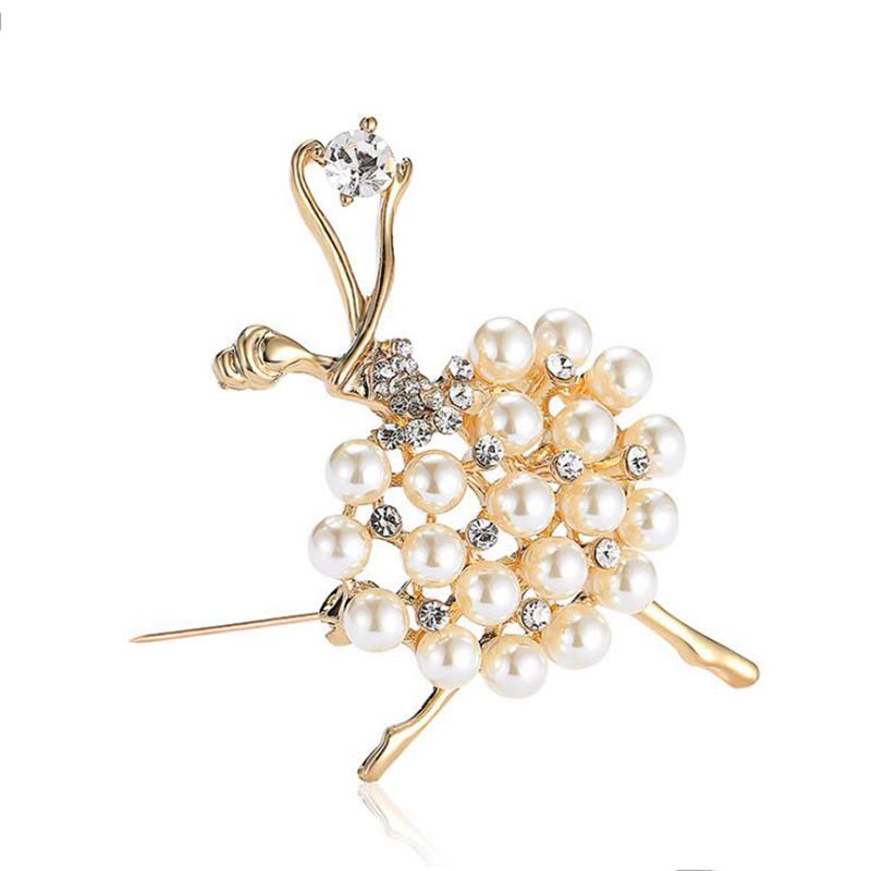 Прямая продажа с фабрики Лидер продаж балетки Танцы девушка сверкающих кристалл имитация жемчуг камень золотые броши для женщин Прямая доставка 7004