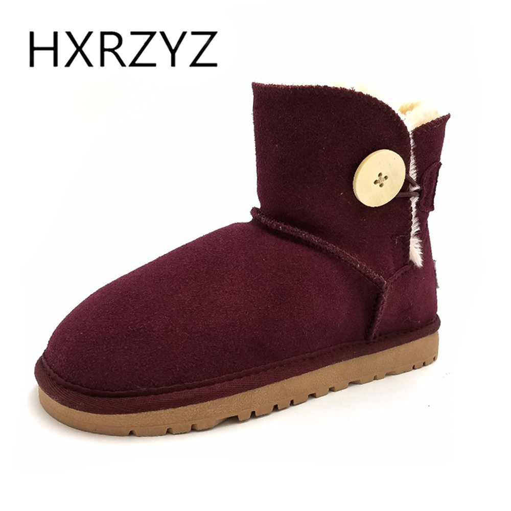 HXRZYZ women snow boots winter genuine Leather warm ankle boots female new fashion button rubber soles suede plush women shoes 2015 winter new style women boots ladies lovely fashion snow shoes female handmade rhinestone genuine leather snow boots