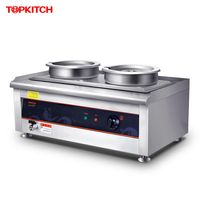 220V Commercial Double Cylinder Electric Warm Soup Stove 14L Stainless Steel 2 Pots Heat Preservation Furnace