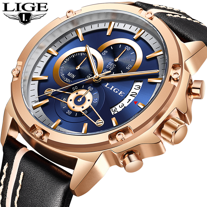 Мужские часы LIGE модный хронограф мужской лучший бренд класса люкс водостойкие спортивные часы мужские кожаные военные часы Relogio Masculino