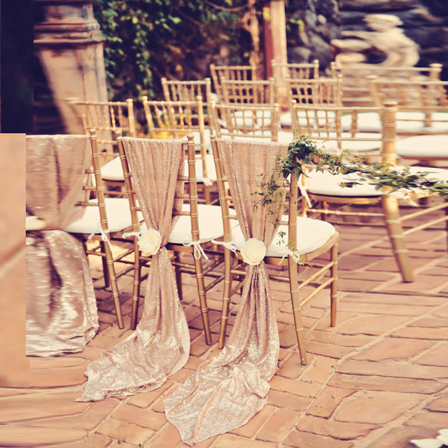 10 Pieces Wedding Decoration Sequins Chair Sash Cover Sparkling Wedding Banquet Venue Decoration Elegant Champagne Chair Sashes