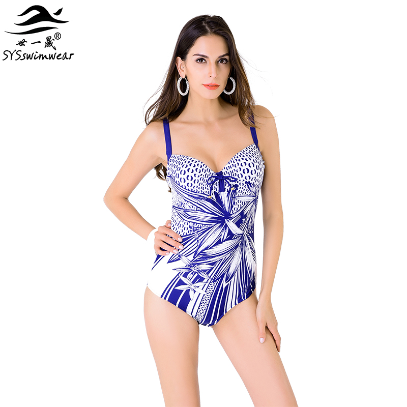 High quality New Summer Sexy Big breast Floral Backless One Pieces Swimwear Women Geometric Print Swimsuit Beach Bathing suit 2017 summer beach high quality sexy women one pieces swimwear backless & wire free surfing swimsuit lady pool bathing suit