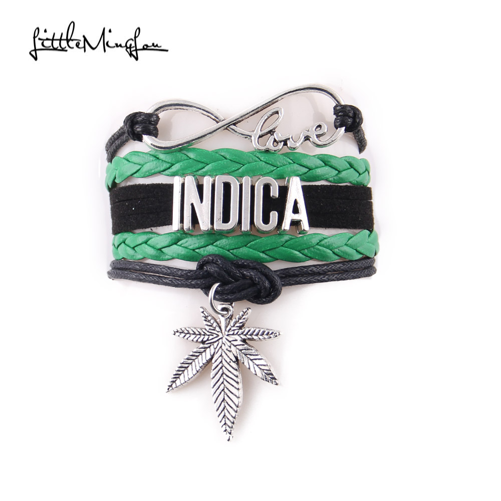 Little MingLou 5 colori Infinity love Bracciale Indica Leaf Charm Awareness in pelle bracciali e braccialetti da donna
