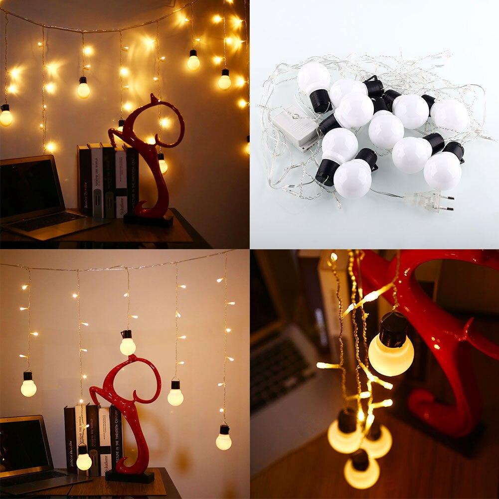 <font><b>48</b></font> LED 10 Globe Bulb Romantic Xmas String Curtain <font><b>Light</b></font> Party <font><b>Warm</b></font> <font><b>White</b></font>