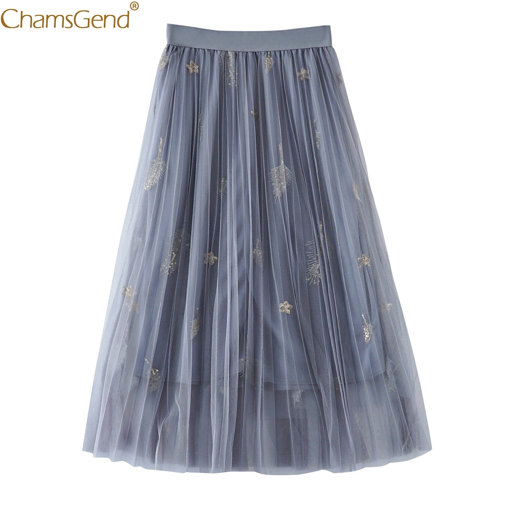 High Waist pleated skirt plus size skirts womens elastic Sparkle Lady Tulle Skirtskirts womens plus size Summer high quality Mar