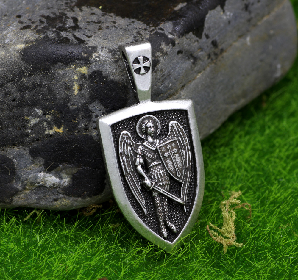 charm silver fighting sterling charms large pendant necklace in saint style michaels zoom michael oxidized a antique archangel demon loading small st