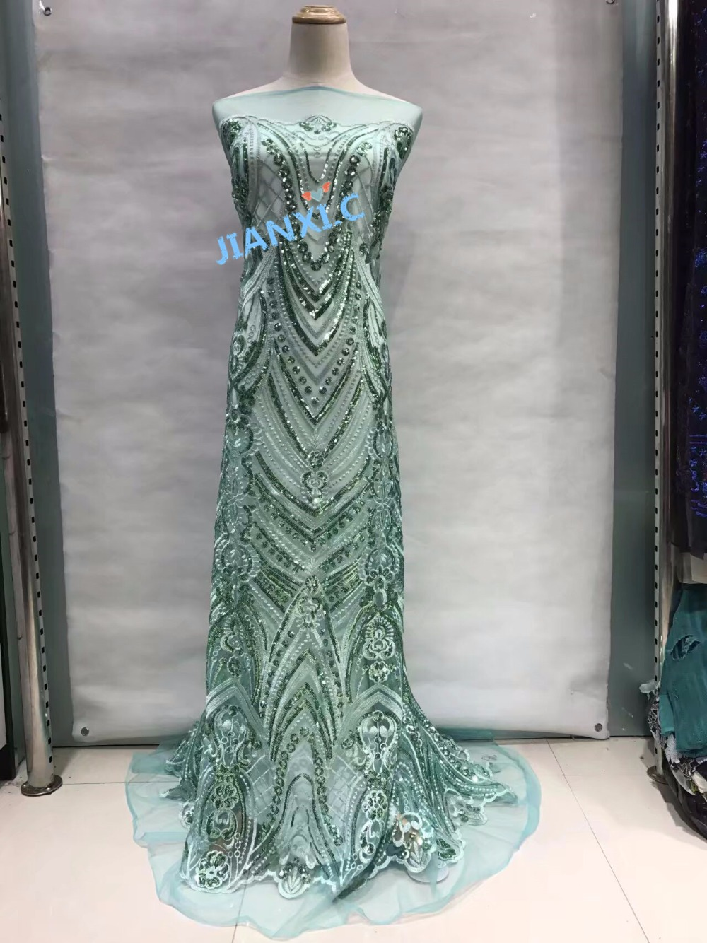 100 Polyester new design Embroidery Lace Fabrics sequins Mesh CiCi 112824 High quality for party dress