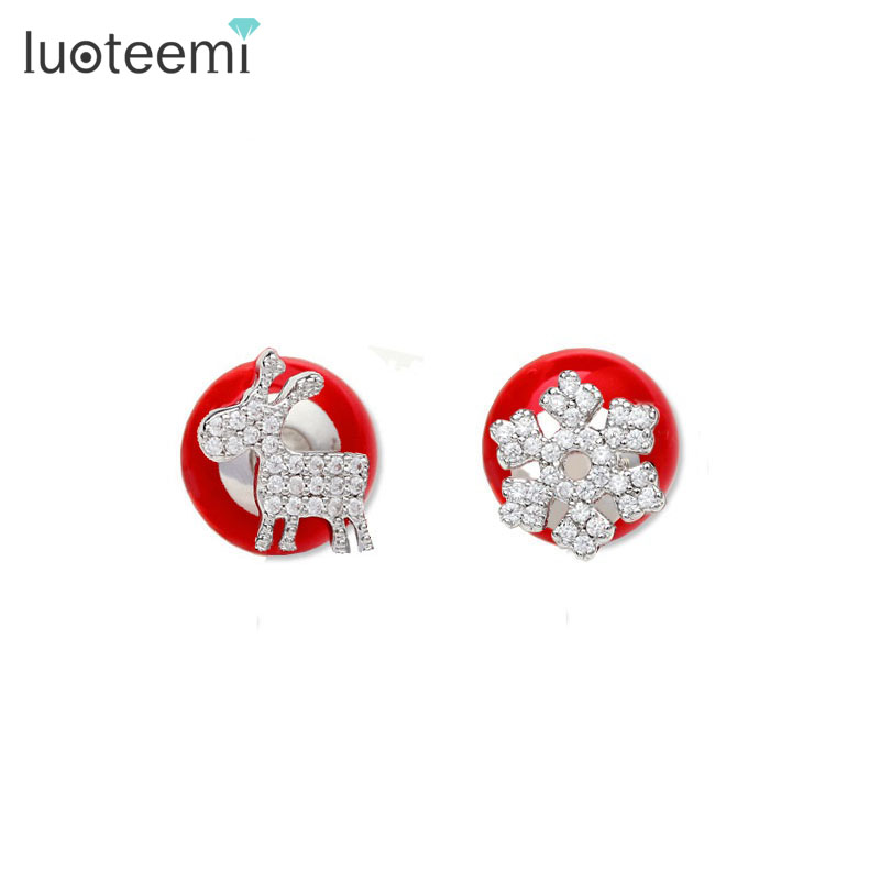 LUOTEEMI Fashion Women Santa Claus Snowflake Lovely Deer Double Sided Red Simulated Pearl Christmas Jewelry Stud