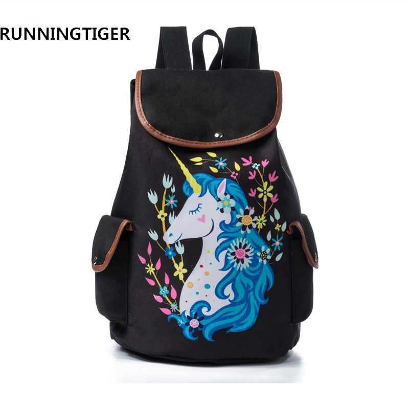 RUNNINGTIGER Women Travel Rucksack For Teenager Girls Cartoon Unicorn  Printed School Backpack Casual Girl School Bags-in Backpacks from Luggage    Bags on ... 96e550341d568