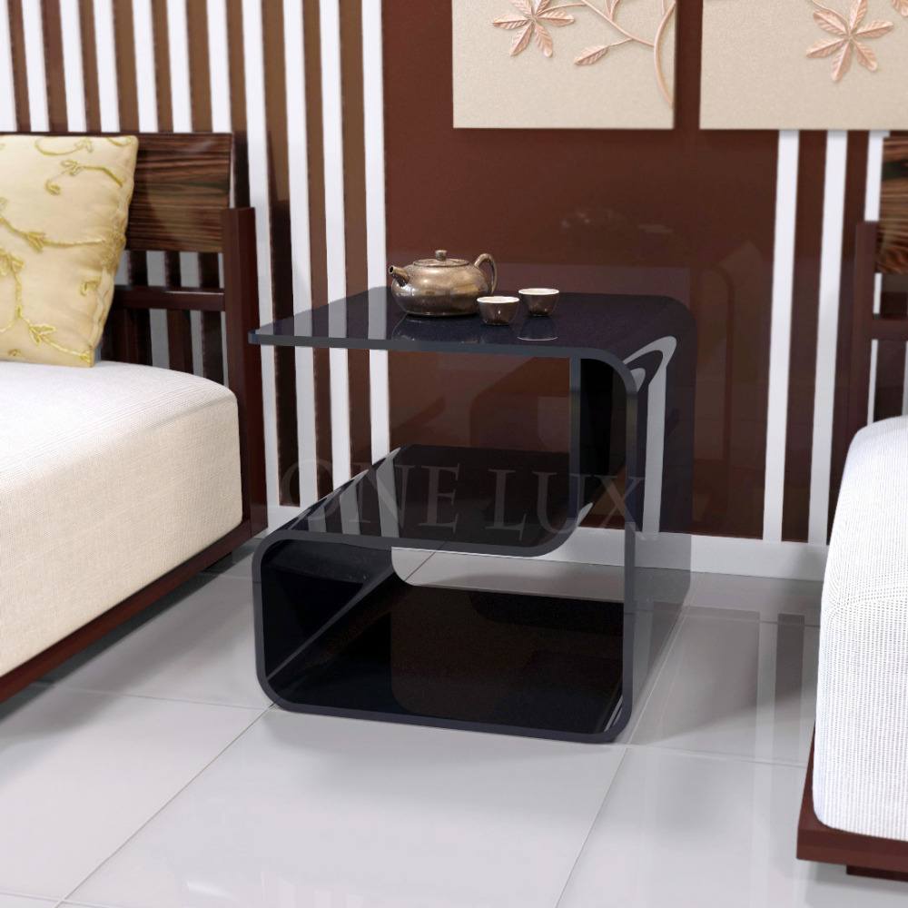 ONE LUX Waterfall Acrylic Lucite Lounge Sofa Table,Plexiglass Waiting room/Magazine/Side/Coffee/Corner tables