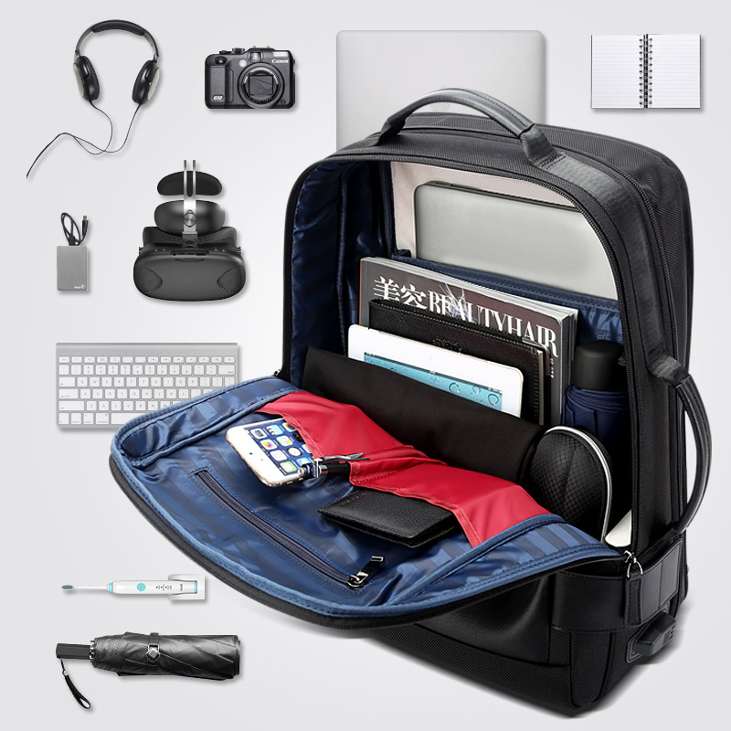 15 6 Inch Notebook Backpack Black Contractive Leather Backpack for Men USB Charging Male Travel Backpack Nylon mens rucksacks in Backpacks from Luggage Bags