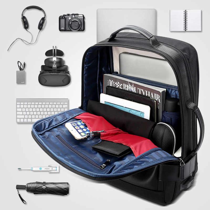 15.6 inç dizüstü sırt çantası siyah sözleşmeli deri sırt çantası erkekler için USB şarj erkek seyahat sırt çantası naylon erkek sırt çantaları