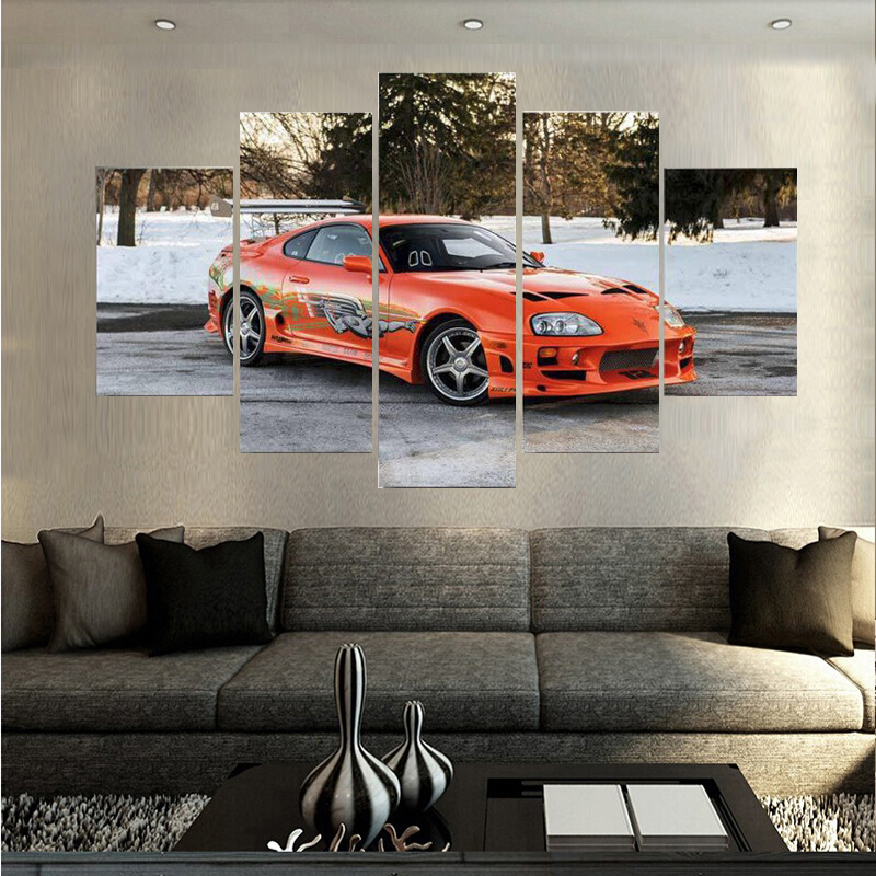 Profession Sale 5 Plane Sports Car Canvas Painting Unframed Home Wall Art Decor Oil Painting For Living Room Free Shipping