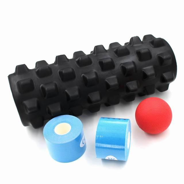 US $39 99 |JJunLiM Physiotherapy set 33x15cm fitness foam roller back  massage deep point Myofascial Release Lacrosse Balls and sport tape on