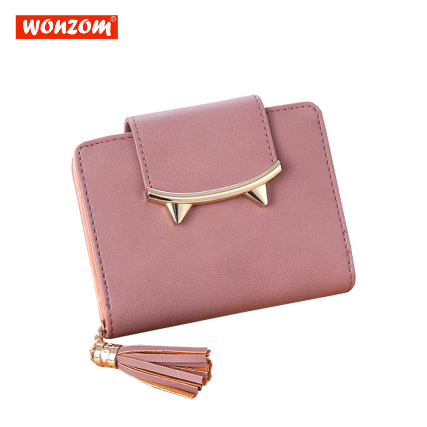 WONZOM Female Mini Bag Tassels Zipper Hasp Women Wallet For Coin Card Cash Invoice Lady Short Solid Small Purse