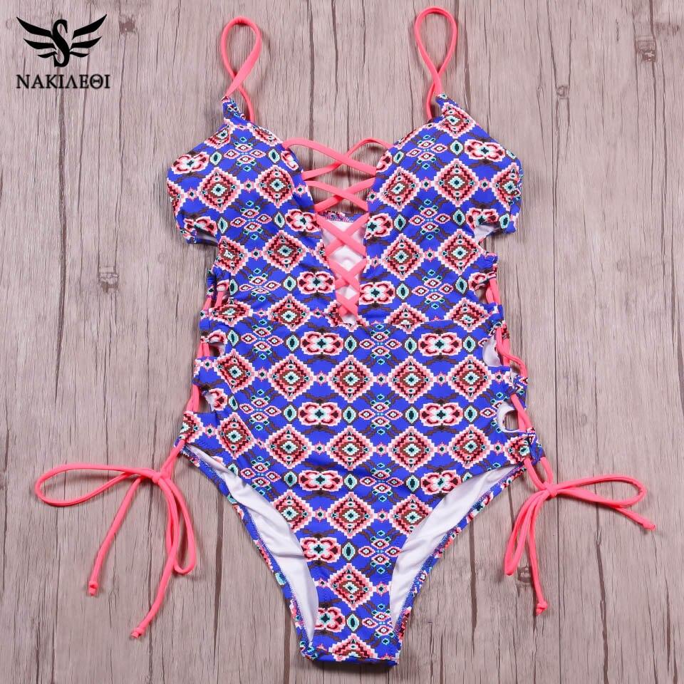 NAKIAEOI 2018 New One Piece Swimsuit Women Swimwear Sexy Bandage Bathing Suit Backless Cut Out Monokini Bodysuit Beach Wear Swim 1