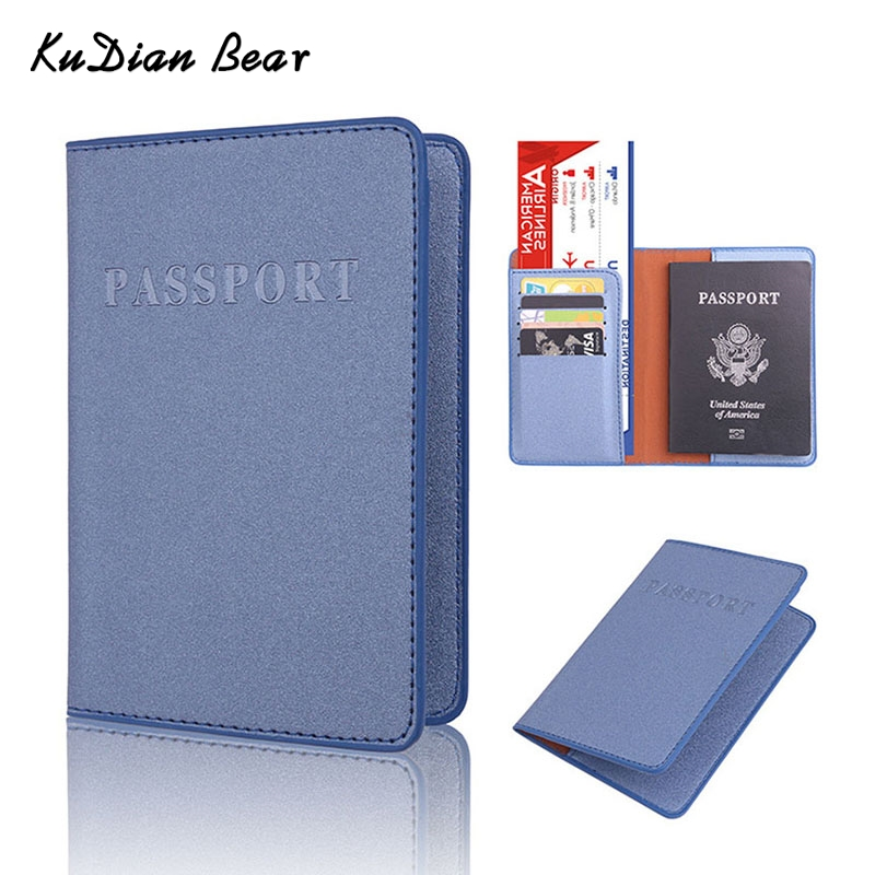 цена на KUDIAN BEAR Passport Cover Rfid Passport Holder Designer Travel Cover Case for Documents Credit Card Holder -- BIH057 PM49