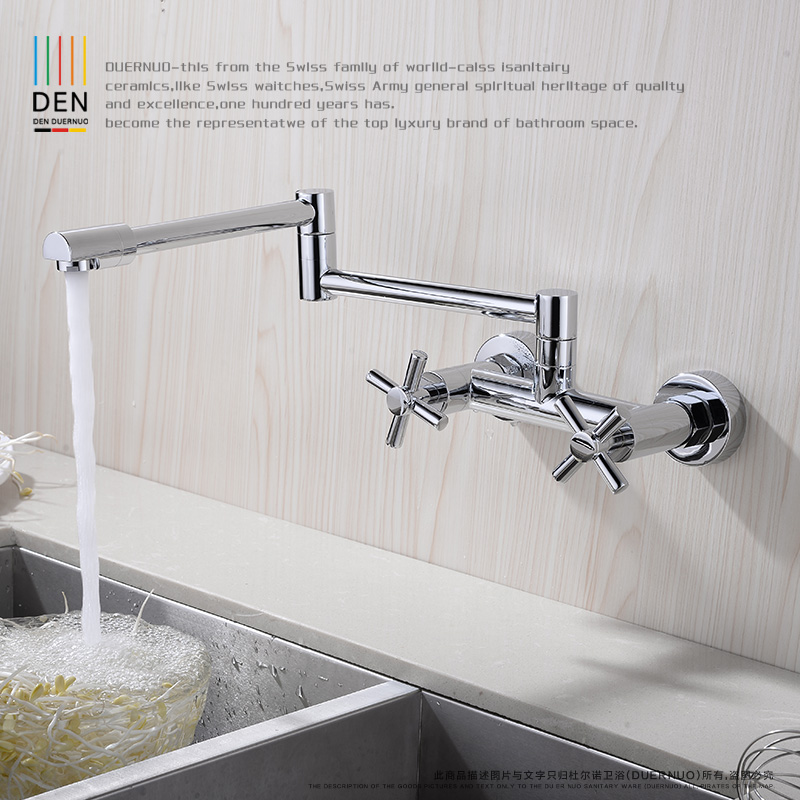 wall type universal rotating folding all copper cold hot kitchen faucet washing pool mop pool dish basin sink faucet the copper into the wall type of hot and cold water tap the kitchen faucet washing pool dish basin sink tap single can rotate