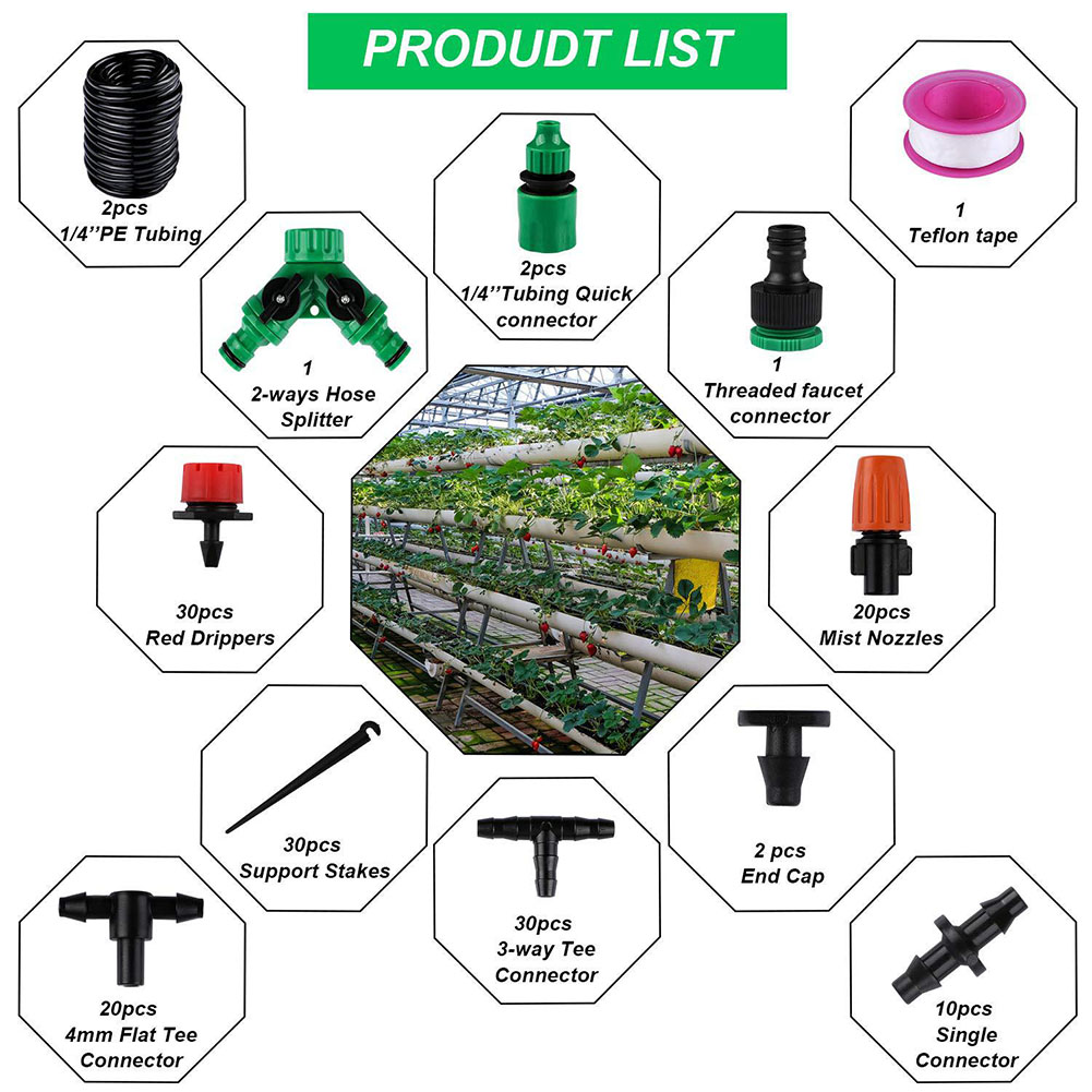 30m For Garden System Adjustable Plants Emitter Greenhouse Equipment Drip Irrigation Kit Lawn Automatic Watering Flow Control