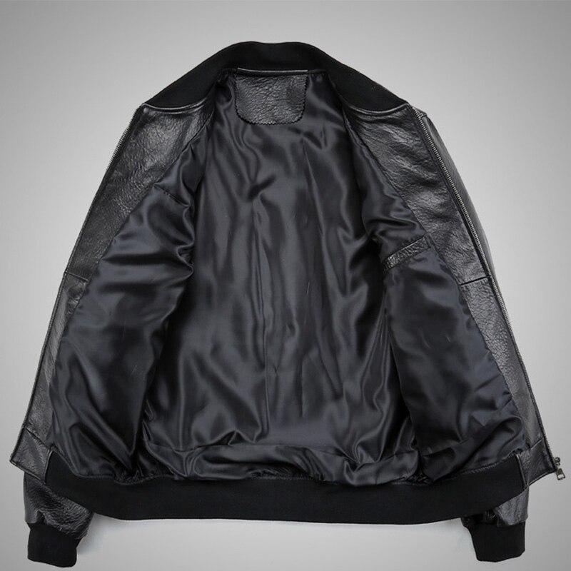Abrigo de piel de oveja de invierno chaqueta de cuero genuino para hombre chaqueta de bombardero de motocicleta de cuero Real Natural aviador masculino 2019-in Abrigos de cuero genuino from Ropa de hombre    3
