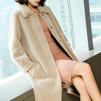 AYUNSUE Women Real Wool Fur Coat With Natural Mink Fur Collar Long Warm Winter Jacket Women Sheep Shearing Coats 2019 JDX18D012