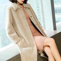 AYUNSUE Women Real Wool Fur Coat With Natural Mink Fur Collar Long Warm Winter Jacket Women Sheep Shearing Coats 2019 JDX18D012