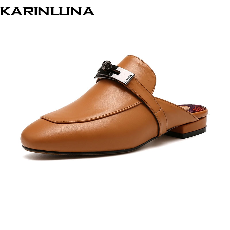 2019 D été Décoration blanc Peau Karinluna Grand Femme Chaussures  Appartements Cuir Métal Design Mouton Véritable 42 marron Marque rouge  Mules Taille De ... e63c2a301b26
