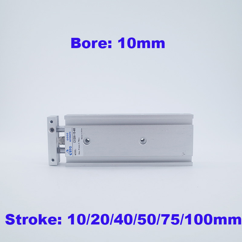 Dual Action 10mm Bore 70mm Stroke Double Rod Pneumatic Air Cylinder