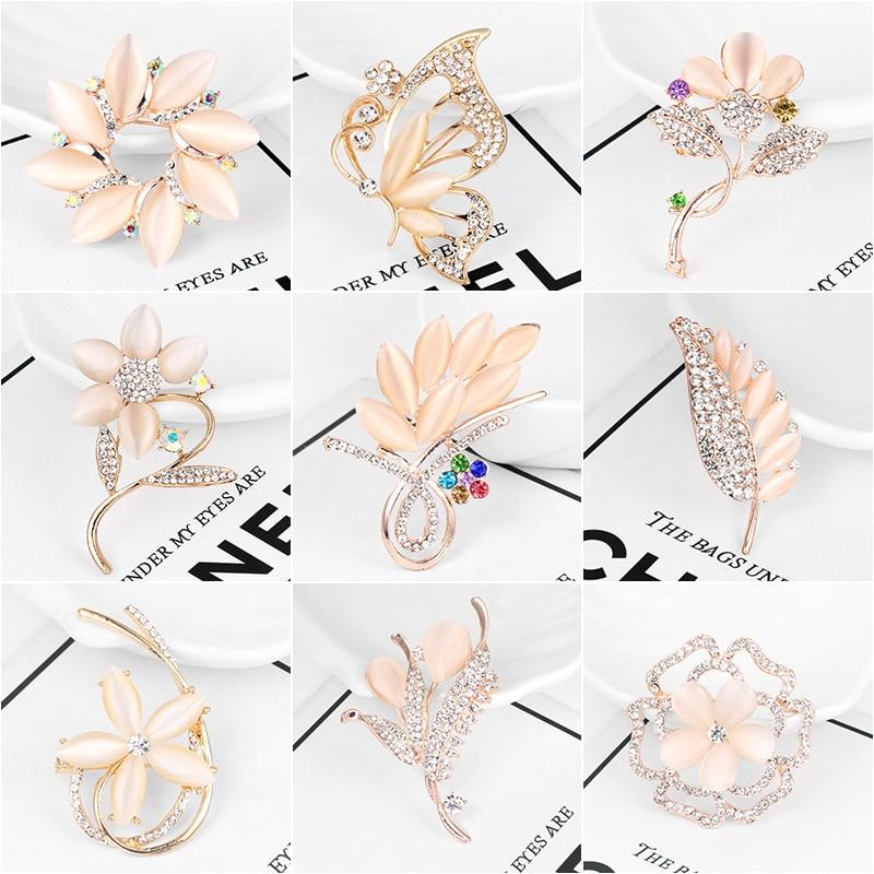 WEIMANJINGDIAN usine vente directe assortie Beige opale pierre plante fleur ou papillon broche broches pour les femmes