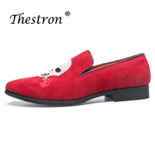 Formal Shoes for Man Slip-on Dress Black Red Men Wedding Luxury Brand PU Anti-slip Pointed Toe Classic Footwear