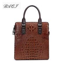 BAQI Men Briefcase Bag Men Handbags Alligator Pattern Cow Leather Man Shoulder Messenger Bag High Quality Computer Business Bag