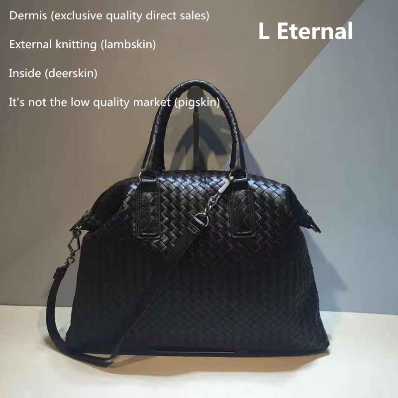2018 High-capacity manual Woven bag Woman Head layer Sheepskin Handbag The single shoulder bag  Internal and external dermis