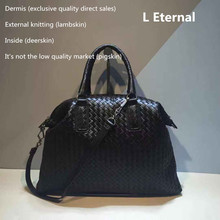 2019 High-capacity manual Woven bag Woman Head layer Sheepskin Handbag The single shoulder  Internal and external dermis