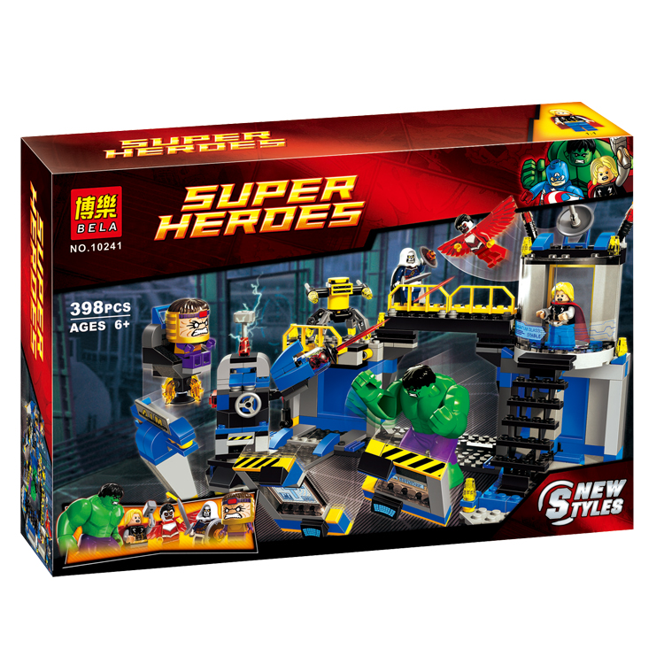 Bela 10241 Super Heroes AVENGERS Hulk Lab Smash Set with Taskmaster/Falcon/Hulk/THor/Turret Robot/Modok action figure toys