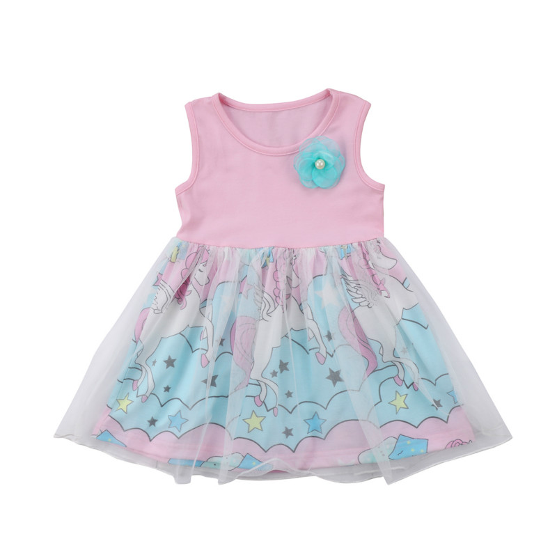 Newborn Kids Baby Girls Party Tulle Tutu Dress Floral Unicorn Pageant  Clothes