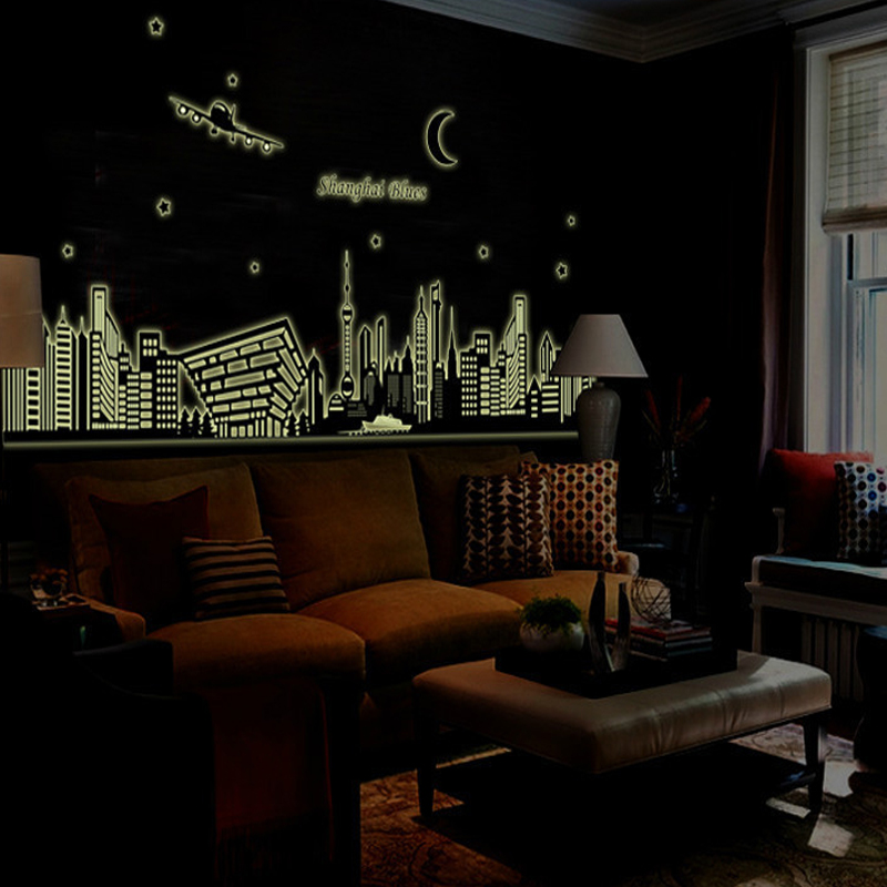 Night Skyline City Scene Wall Stickers Illuminate In The Dark Bedroom Decor Bright Fluorescent Glow Tattoos From Home