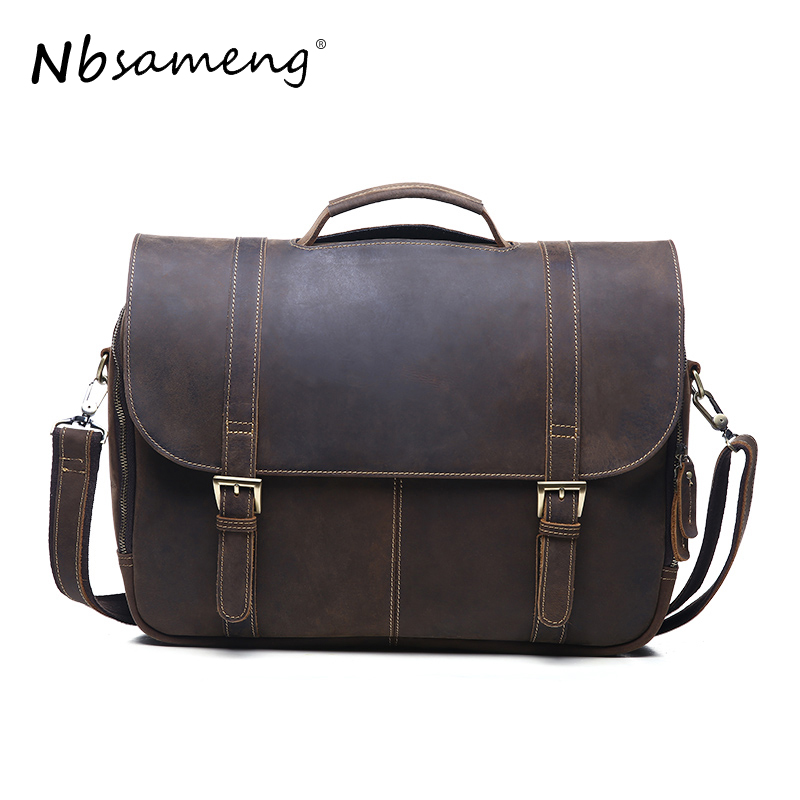 NBSAMENG Vintage Men Genuine Leather Shoulder Bags Laptop Briefcase Messenger Crossbody Pouch Travel Bag for Man New Year Gift xiyuan genuine leather handbag men messenger bags male briefcase handbags man laptop bags portfolio shoulder crossbody bag brown