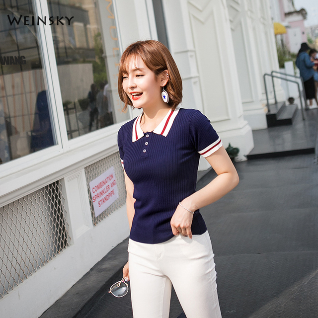 Weinsky 2018 новые летние Для женщин Повседневное поло Корея модные короткий рукав поло в Корейском стиле