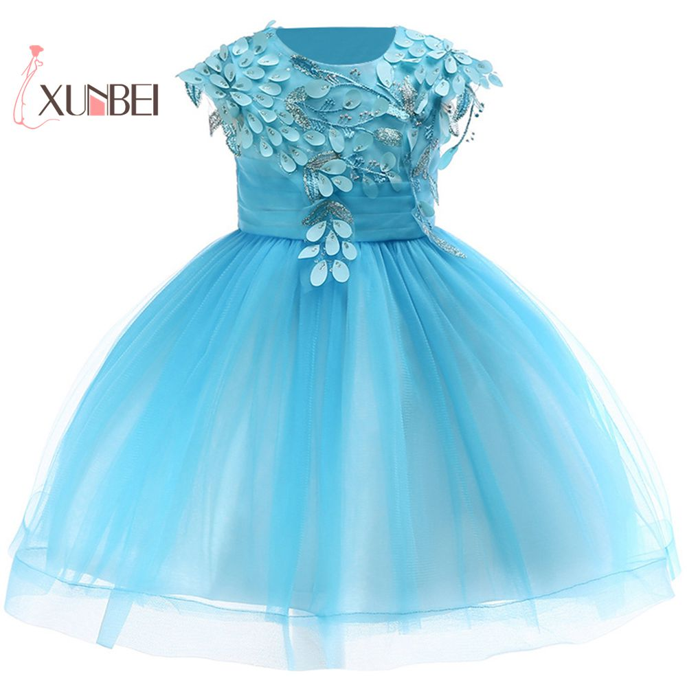 Princess Elegant Knee Length Beauty Appliques Tulle   Flower     Girl     Dresses   2019 Ball Gown For Kids Lace   Girls     Dresses   For Party